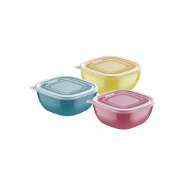Conjunto de Potes Tramontina Mixcolor em Polipropileno com Tampa Transparente 3 Peças