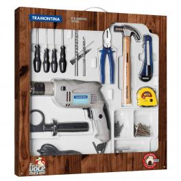Kit de Ferramentas Tramontina com Furadeira Elétrica 500W 127V 100 Peças