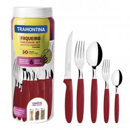 Faqueiro Tramontina Ipanema em Inox Vermelho com Pote Plástico 30 Peças
