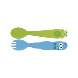 Jogo de Talheres Infantil Tramontina Monsterbaby com Proteção Antimicrobiana Azul e Verde 2 Peças
