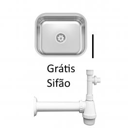 Cuba de embutir Tramontina Lavínia 56BL em Inox Polido 56x34cm e Sifão Grátis