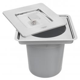 Lixeira de Embutir Tramontina Clean Square em Aço Inox com Balde Plástico 5L