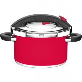Panela de Pressão Tramontina Presto Vermelha em Aço Inox Fundo Triplo 24cm 6L