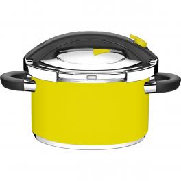 Panela de Pressão Tramontina Presto Amarela em Aço Inox Fundo Triplo 24cm 6L