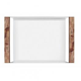 Bandeja Tramontina Retangular Componenti em Aço Inox com Alças em Polywood Escuro 53x35 cm