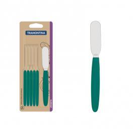 Conjunto de Espátulas para Manteiga Verde Esmeralda Inox Ipanema Tramontina 6 Peças