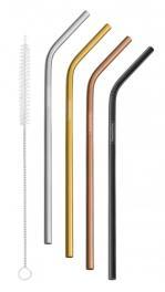 Jogo de Canudos 0,6 cm Coloridos Tramontina em Aço Inox com Escova 5 Peças