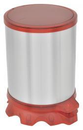 Lixeira Inox Tramontina Sofie com Corpo em Aço Inox com Acabamento Scotch Brite e Detalhes em Plástico Translúcido Vermelho com Pedal 5 L
