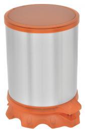 Lixeira Inox Tramontina Sofie com Corpo em Aço Inox com Acabamento Scotch Brite e Detalhes em Plástico Translúcido Laranja com Pedal 5 L