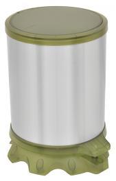 Lixeira Inox Tramontina Sofie com Corpo em Aço Inox com Acabamento Scotch Brite e Detalhes em Plástico Translúcido Verde com Pedal 5 L