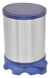 Lixeira Inox Tramontina Sofie com Corpo em Aço Inox com Acabamento Scotch Brite e Detalhes em Plástico Translúcido Azul com Pedal 5 L