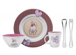 Kit para Refeição Tramontina Le Petit em Cerâmica e Aço Inox Rosa 5 Peças