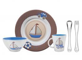 Kit para Refeição Tramontina Le Petit em Cerâmica e Aço Inox Azul 5 Peças