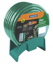 Mangueira Flex Tramontina Verde em PVC 3 Camadas 20 m com Engates Rosqueados, Esguicho e Suporte Mural 79322200