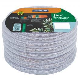 Mangueira 25 m Flex Tramontina Transparente em PVC 3 Camadas com Engates Rosqueados e Esguicho 79182256
