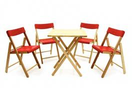 Conjunto Mesa e Cadeira 5 Peças Natural Vermelha Potenza Tramontina 10630032