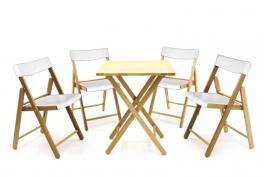 Conjunto Mesa e Cadeira 5 Peças Natural Branco Potenza Tramontina 10630031