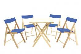 Conjunto Mesa e Cadeira Potenza 5 Peças Azul Tramontina 10630033