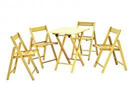 Conjunto Mesa e Cadeira 5 Peças Envernizado Aconchego Tramontina 10630026