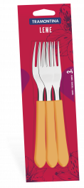 Conjunto Garfos Inox Mesa 3 Peças Laranja Leme Tramontina 23182340