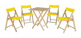 Conjunto Mesa e Cadeira 5 Peças Natural Amarelo Potenza Tramontina 10630064