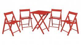 Conjunto Mesa e Cadeira 5 Peças Vermelho Aconchego Tramontina 10630038