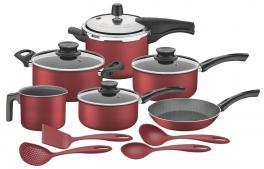 Kit para Cozinha Alumínio Antiaderente + Utensílios Nylon Tramontina 20598717