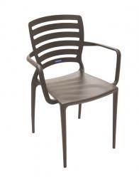 Cadeira Encosto Vazado Marrom com Braços Sofia Tramontina 92036109