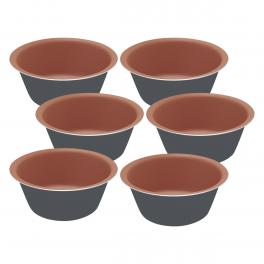 Conjunto de Formas para Cupcakes Tramontina Bakery Alumínio Antiaderente Grafite 6 Peças