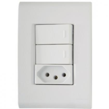 Conjunto 4x2 2 Interruptores e 1 Tomada 10A Liz Tramontina 57170073