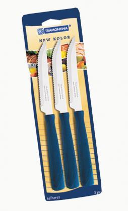 Conjunto Facas Inox 3 Peças Azul New Kolor Tramontina 23160314
