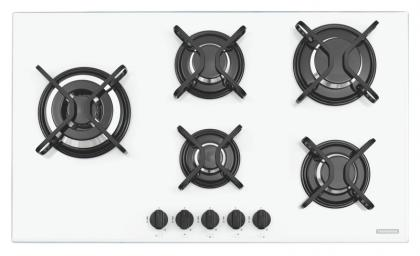 Cooktop a Gás Tramontina Penta Side Plus W 5GG Tri 90 em Vidro Temperado Branco e Trempes em Aço Carbono 5 Queimadores