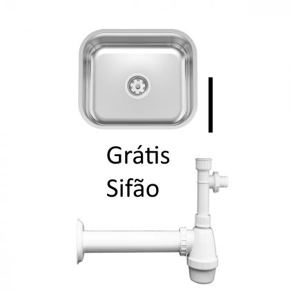 Cuba de embutir Tramontina Lavínia 40BL em Inox Polido 40x34cm e Sifão Grátis