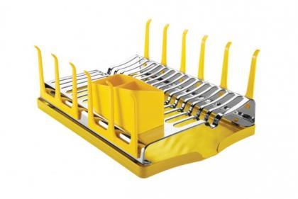 Escorredor de Louças Inox com Bandeja Amarelo Plurale Tramontina 61535080