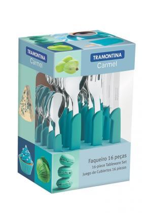 Faqueiro Inox 16 Peças Verde Carmel Tramontina 23499005