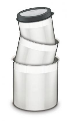 Jogo de Potes 3 Peças Inox Tampa Plástica Preta Cucina Tramontina 64220623