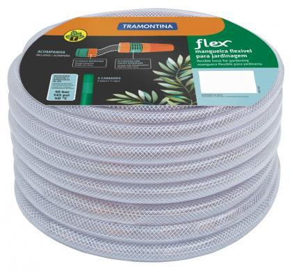 Mangueira Flex Tramontina Transparente em PVC 3 Camadas 15 m com Engates Rosqueados e Esguicho 79182156