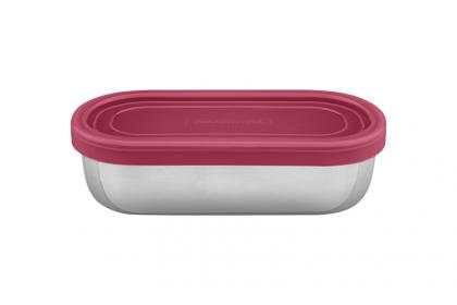 Pote para Alimentos Tramontina Freezinox em Aço Inox com Tampa Plástica Rosa 0,4 L