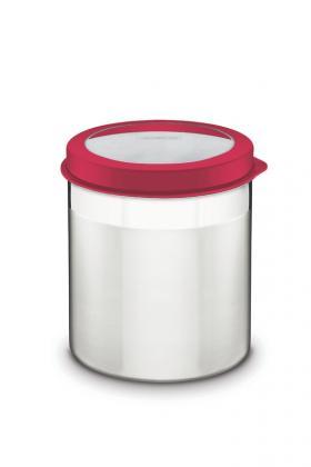 Pote Tramontina Cucina em Aço Inox com Tampa Plástica Vermelha e Visor 14cm 2,3L